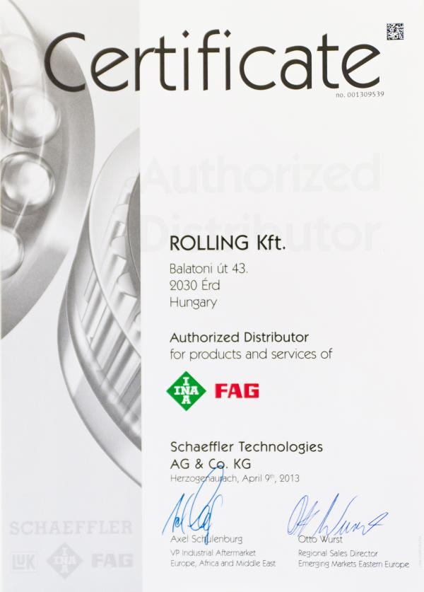 Schaeffler Authorized Distributor Certification